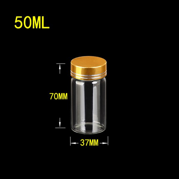 50ml Glass Candy Bottles Box with Gold Aluminum Screw Cap Wedding Gift Bottles Jars Party Decoration 24pcs Free Shipping