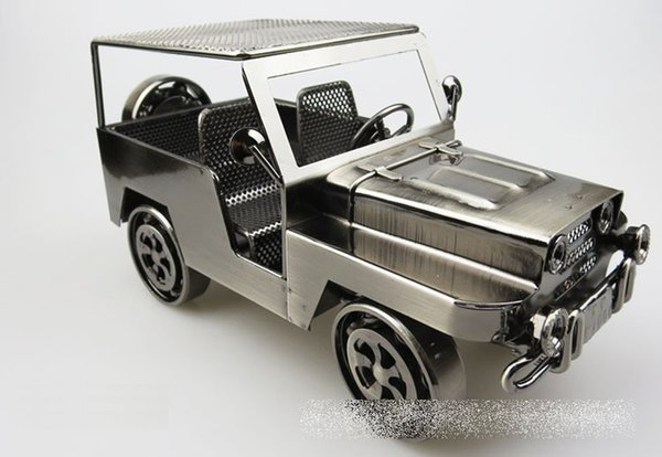 HandMade Iron Art Retro Jeep Offroad Vehicle Simulation Car Model Toys - Collection Metal Auto Diecast Model Cars Toy For Men Children