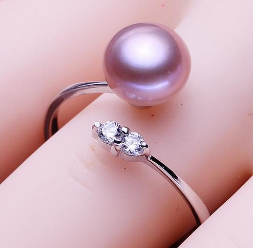 Wholesale 8-9mm white pink purple three colors oblate Natural pearl ring 925 silver JZ0056