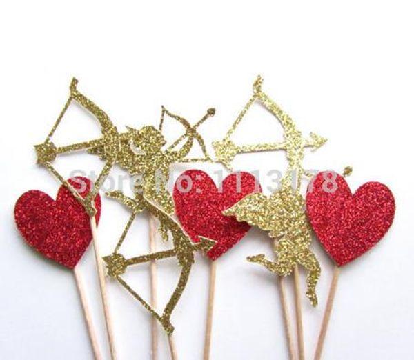 Cuore personalizzato, Cupido, Arco e freccia Toppers Cupcake, Glitter Heart Toppers Cupcake, San Valentino Festa nuziale Fidanzamento Party Supplies