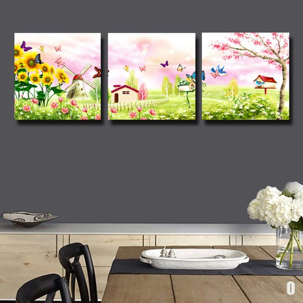 3 Pcs/Set windmills and butterflies Beautiful Modern Home Wall Decor Canvas Print Painting HD Wall Picture For Kitchen Decorate#110