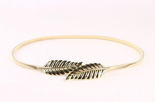 Fashion Metal Waist Belts Leaf Lady Belts Elastic Spring Gold Dress Fine Women Belt Decoration Fashion Accessories Gold/Silver
