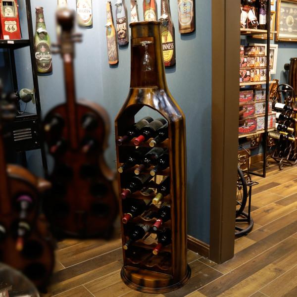 Slender Large Bottle-Shape Both Sides Open Wood Red Wine Rack & Glass Holder Furnishing Articles for Home Decoration 5001