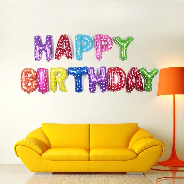 13pcs/lot Happy Birthday balloons Party Decoration Letters Alphabet Aluminum balloon Foil Baloon Baby kids air Balloons Factory Wholesale
