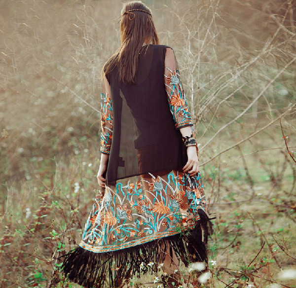 top popular Ethnic Clothing Folk embroidery tassel coat chiffon cardigan Long Shawls Women Casual Cardigan Short Sleeve Chiffon Perspective Cover Up 2021
