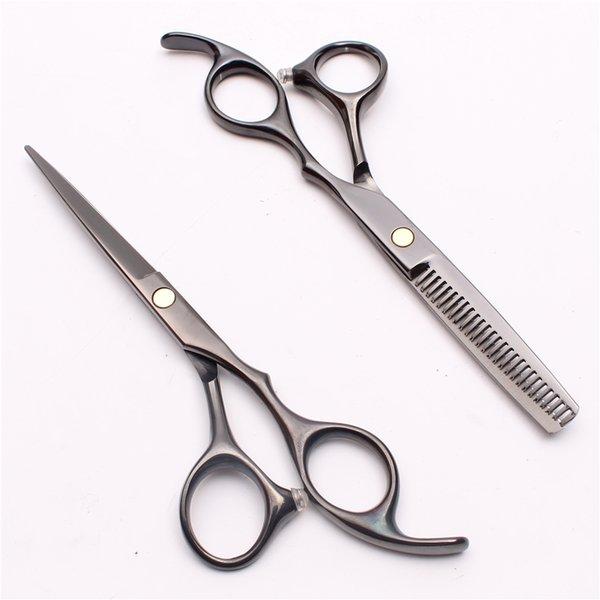 C1005 6.0'' 17cm Customized Logo Black Hairdressing Scissors Factory Price Cutting Scissors Thinning Shears Professional Human Hair Scissors