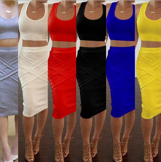 2017 Spring Casual Clothing 2 Piece Sets Women's Slim Midi Bodycon Tunic Sexy Club Outfit Party Elegant Bandage Dresses