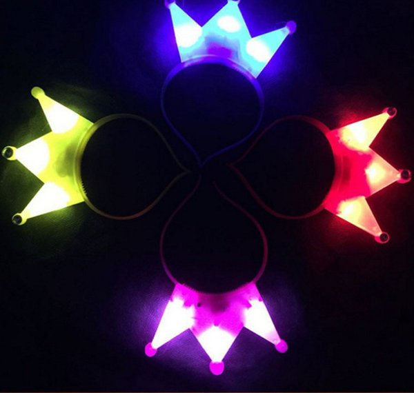 1 95cr Glowing Crown Hair Bands LED Luminescence Headband Creative Flash Headdress For Childrens Party Decoration Concert Props R