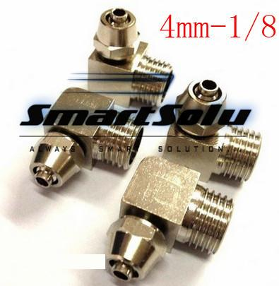 10pcs/lots brass quick connectors for 4mm hose 1/8 thread elbow type pipe fitting