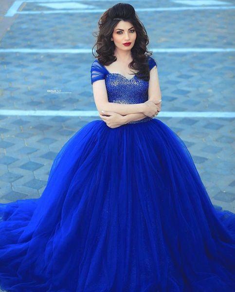 Arabic Design Royal Blue Puffy Wedding Dresses