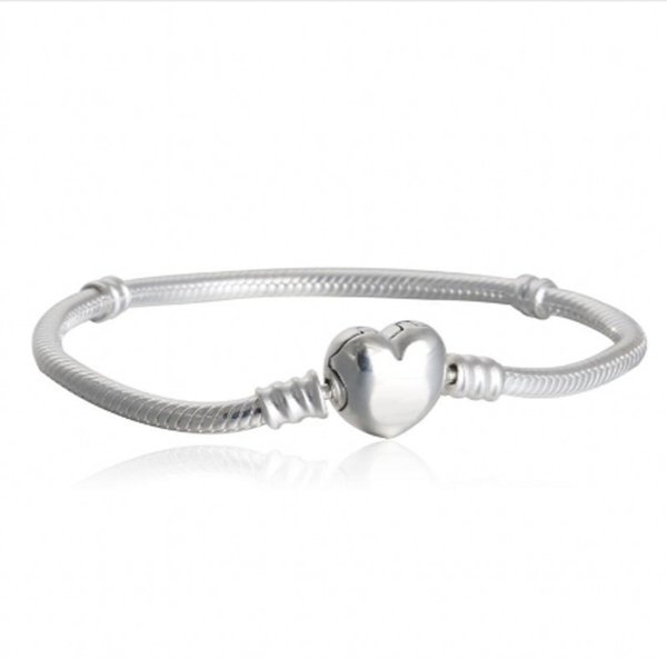 New Heart Clasp Bracelets Famous Brand Logo Authentic 925 Sterling Silver Fashion Snake Chain Charm Bracelets DIY Charms Beads PD1