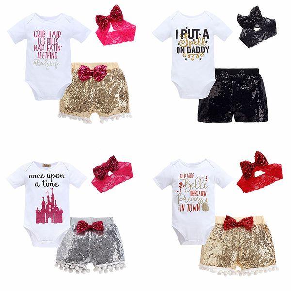 Baby dreiteilige Kleidung Sets Pailletten Baby Strampler Kinder Overalls für Jungen Mädchen Hosen Shorts Haarband Hüte Tops 6M-3T