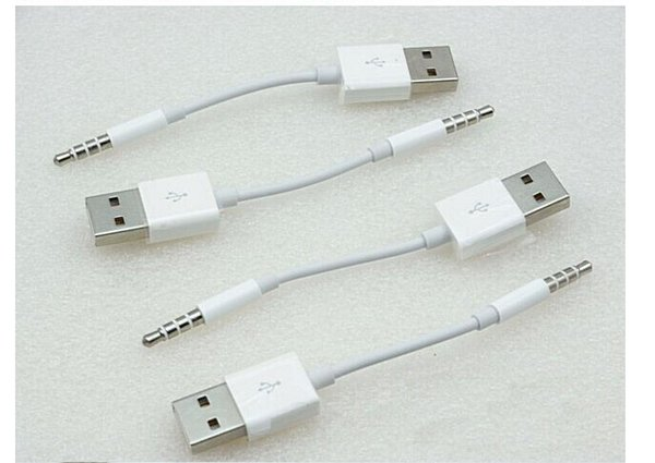200pcs USB Cable 2.0 Charger SYNC M to M Audio Headphone Jack Adapter Cord 3.5mm White for Apple for ipod shuffle 3rd 4th 5th