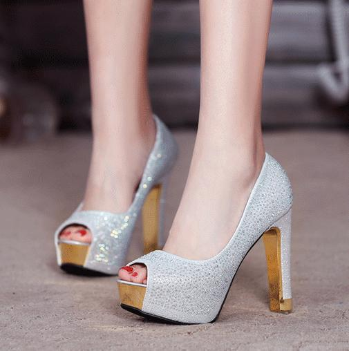 best selling Glitter silver wedding shoes gold diamond rhinestone sexy high heels princess prom ball shoes size 34 to 39 YL