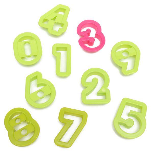 10pcs/Set Numbers Cake Cookie Mould Cutter Set Fondant Baking Tool Birthday Biscuit Sugarcraft Fondant Deco Press Ebosser