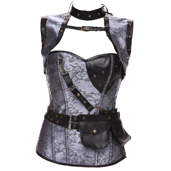 Plus Size in Stock New Design Acciaio Bones Vintage Steampunk Corset Set Donna Corsetti Cinchers vita all'ingrosso 0926