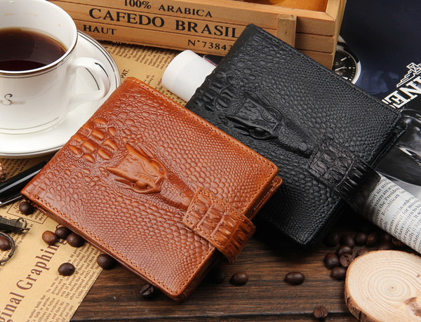New designer Genuine leather short style Alligator wallet for gift men cow leather fashion large capacity purse black/brown color no192