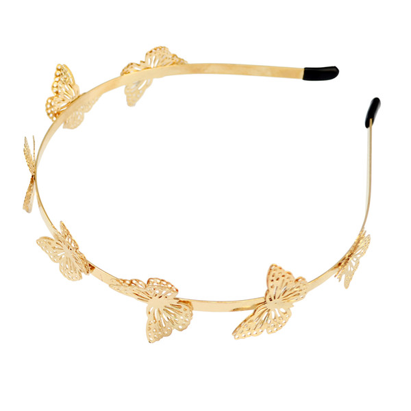 Nuovo prezzo all'ingrosso Moda semplice placcato oro a forma di farfalla Hairband Hair Jewelry per accessori per capelli ragazza