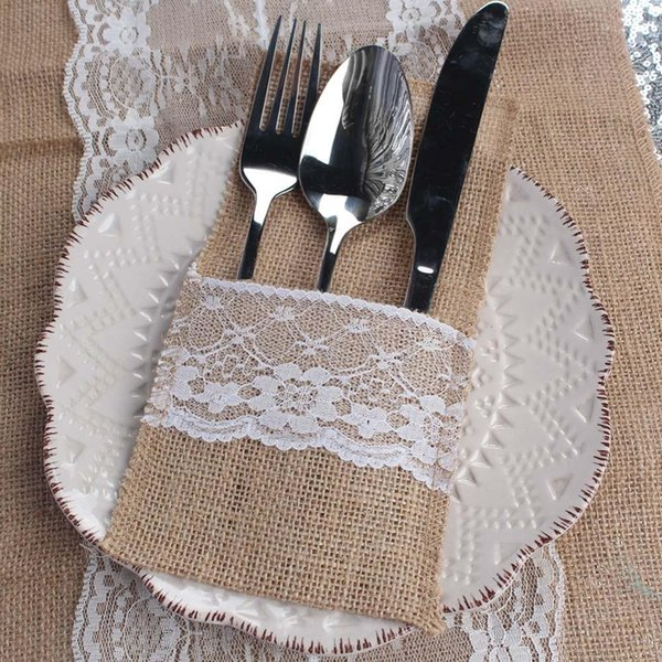 All 10pcs Tableware Pouch+Wedding Gift Bags Fork & Knife Burlap Holder Cutlery Pocket and Wedding Favors Candy Bag Perfect Match