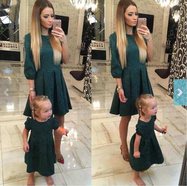 Herbst Mutter Tochter Kleider passende Mutter Tochter Kleidung Partei elegante Mutter und Tochter Kleid Familie passende Kleidung