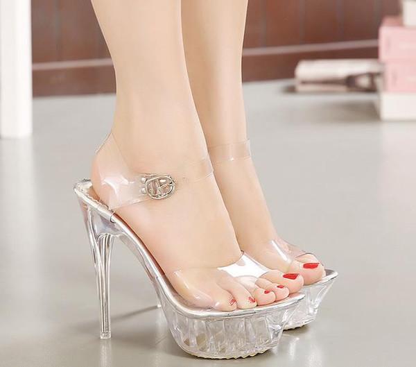 Plus Size 35-43 14cm High Heels Women Summer Sandals Transparent Open Toe Platform Women Sandals Buckle Strap Sexy Princess Sandals