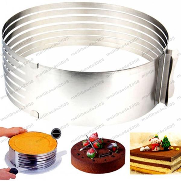 NUEVO kit ajustable de la rebanadora de la torta de la capa de molde de la crema de la mota del acero inoxidable del kit de la rebanadora Kit de plata libre de la rebanada de la torta de la capa