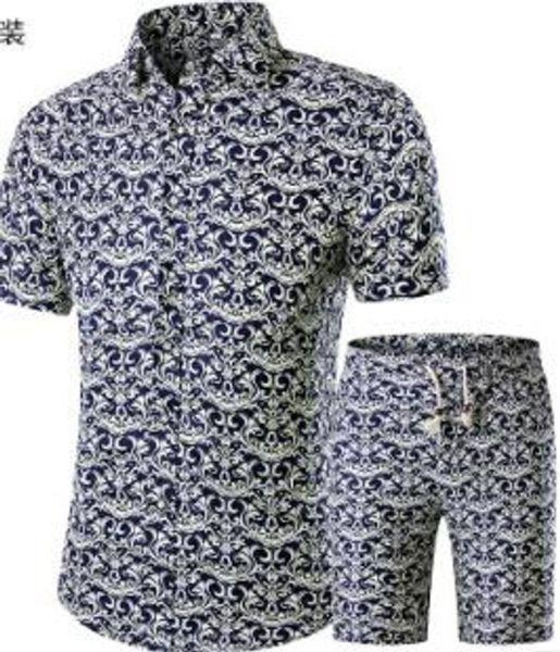 top popular Summer Men Shirts+Shorts Set New Casual Printed Hawaiian Fashion Shirt Homme Short Male Printing Dress Suit Sets Plus Size 2019