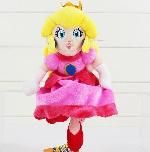 Hot sale Super Mario Plush Princess Peach Plush Soft Stuffed Doll Toys 22cm for kids gift Free Shipping