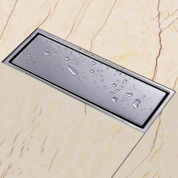 Rejillas de baño invisibles de acero inoxidable sólido 304, 300 x 110 mm, cuadradas, anti-olor, desagües del baño