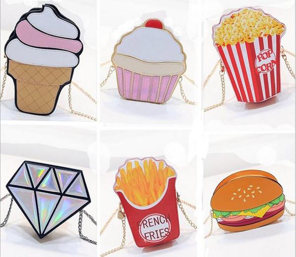5pcs 2017 sacchetto di catena creativo personalità carino min hamburger borse a mano ice cream pu cross body girls borse