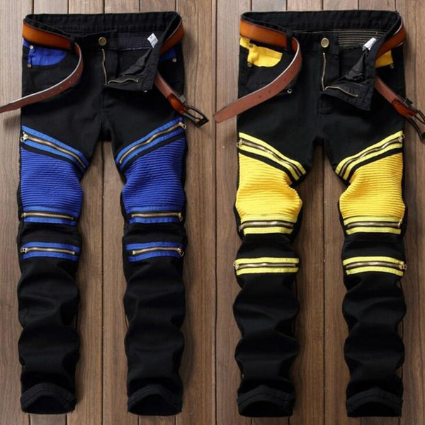 Fashion Mens Vintage Embellished Moto Pants patchwork Bling Coated Black Yellow Biker Jeans Slim Trousers for men