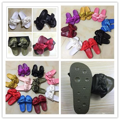 2017 New Womens Satin Fenty Bandana Slide Slippers Designer Ladies Rihanna Butterfly Slippers Gold Pink Red White Purple Blue New In Box
