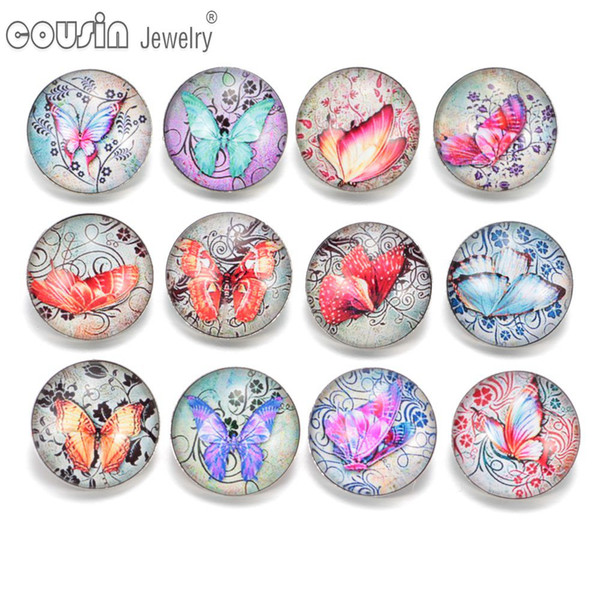 12pcs/lot Mixed styles 18mm snap button Jewelry butterfly glass Snap Fit snap Bracelet Jewelry KZ0313