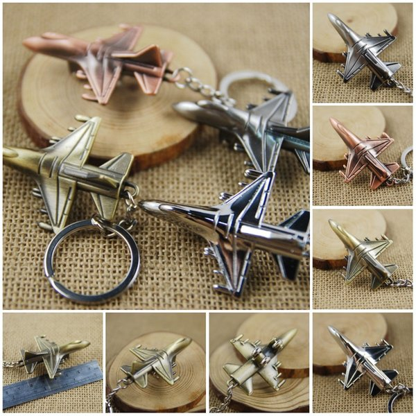 Fashion Metal 3D Aircraft Airplane Keychain Key Chain Ring Keyfob Keyrings Latest Creative Cute Christmas Gift 4 Color C22L