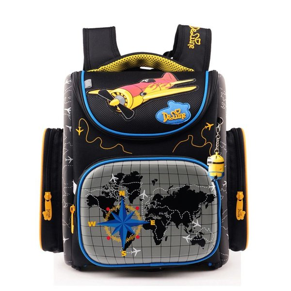 2017Fashion Kids School Bags for Boys Orthopedic nylon Backpack Cartoon Cars or planes Schoolbag Children Satchel Mochila Infantil Grade 1-5