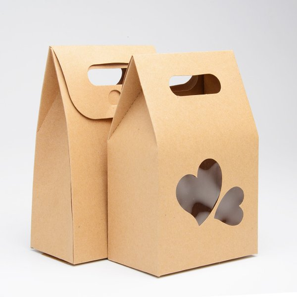 10x15cm милый крафт-бумага пищевой упаковки мешок с любящим окном сердца и ручкой, дл