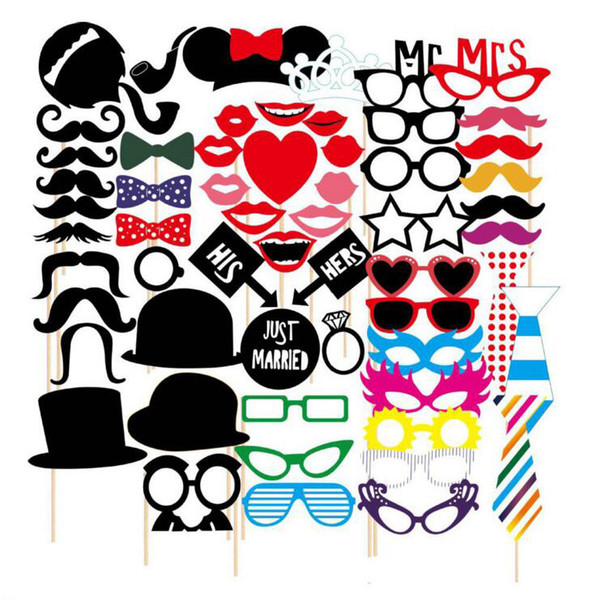 Newest 58pcs/lot Photo Booth Props Set Photo Glasses Caps Tie Pipe On A Stick Weeding Party Favor DIY Masks