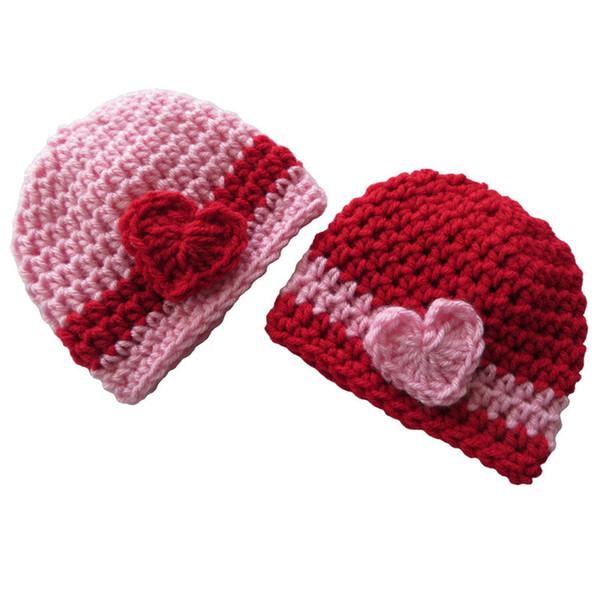 Прекрасный день Святого Валентина Шапочка шляпа, ручной вязать крючком близнецы