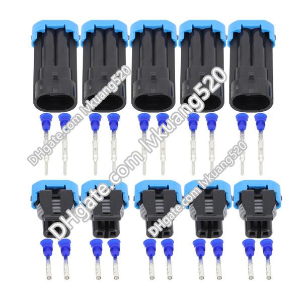 5 Sets 2 Pin Outdoor Temperature Sensor Plugs Automotive Connectors Waterproof Connectors DJ7024-1.5-11/21