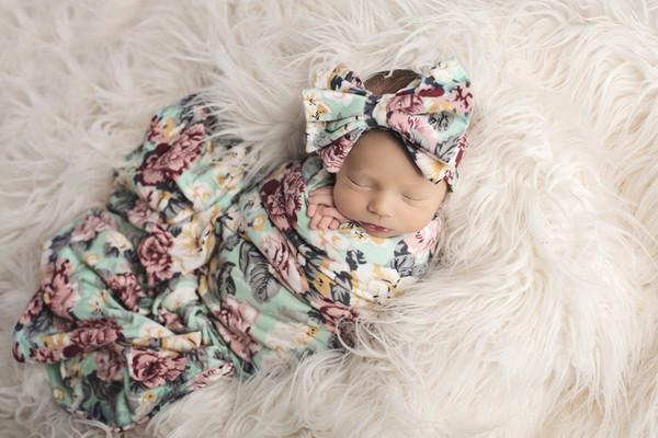 top popular INS Floral Baby sleeping bag Flower Printed Newborn Blanket Flower Printed sleeping sack + Bowknot Headband 2pcs Sets C2171 2021