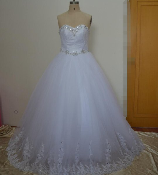 2017 vestido de bola Puffy barato vestido de boda vestidos de novia africanos con encaje y cristales Foto Real Hochzeitskleid