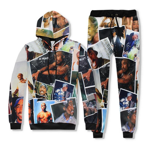 2pac Hoodie + Pants Tupac 3D digital printing Joggers Tracksuit Unisex Sweatshirts Outfit For Men And Women
