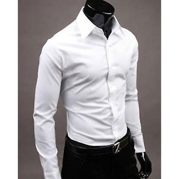 Vente en gros-New Fashion Hommes de luxe élégant Casual manches longues robe chemise Casual Slim Fit formel affaires chemises hommes vêtements M-XXXL