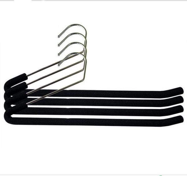 36cm Magic Z Metal Hangers V Shape Stainless Steel Pants Trousers Racks Non-Slip Hanger Black Color