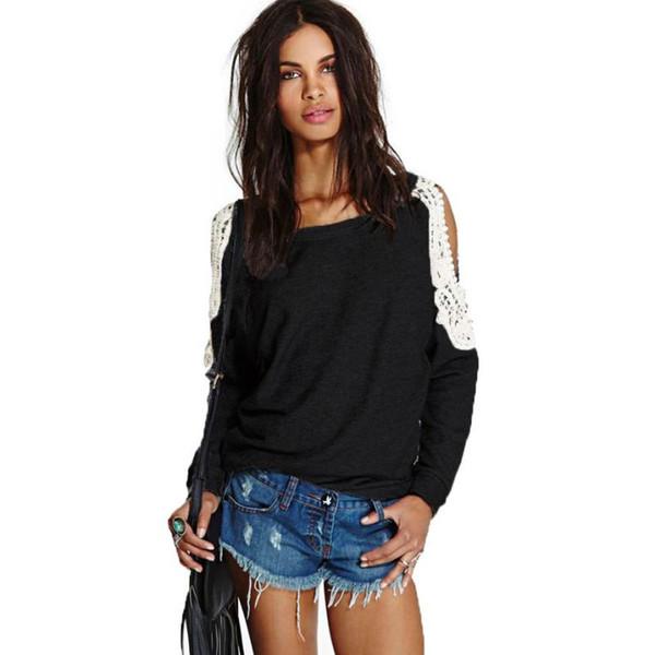 Gros-Femmes Casusl Pulls Haut Gris Couleur Coton Mélange Tops Womens Cut Out Shoulder Sweater