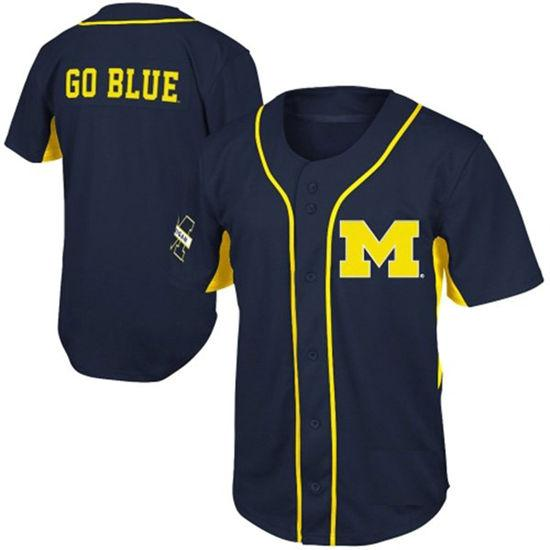 Men's CHEAP NCAA Michigan Wolverines COLLEGE Baseball jersey Stitched Navy Michigan Wolverines GO BLUE jersey S-3XL