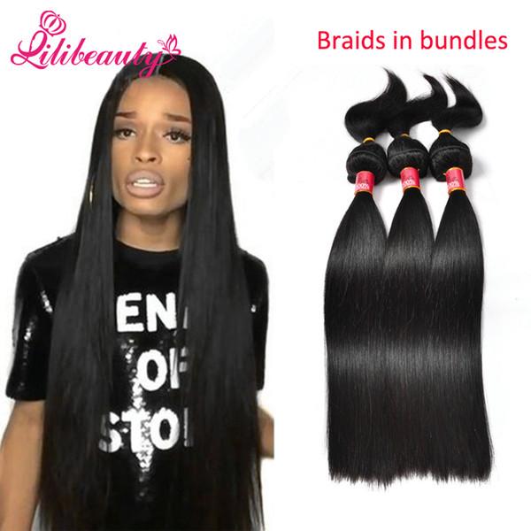 2017 Lilibeauty Brazilian Virgin Hair Straight Braid In Bundles Hair