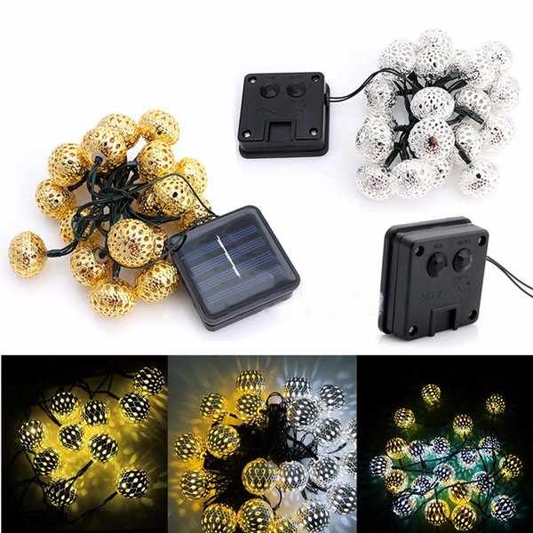 20 head of Moroccan hollow ball solar festival lights string Christmas lights LED holiday lights free shipping