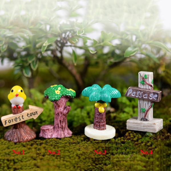 4pcs Bird Coconut Tree Signpost Statues Fairy Garden Miniatures Bonsai Tools Terrarium Figurines Dollhouse Ornament Gnomes Zakka Home Decor