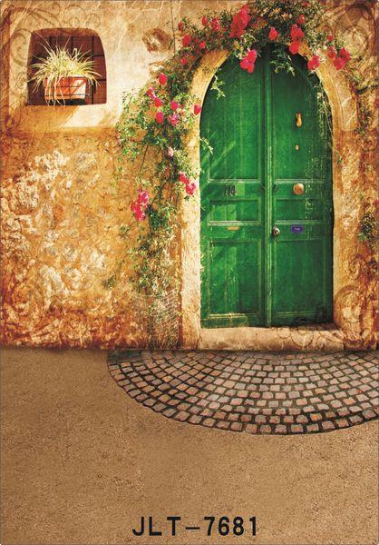 im Freien altes Haus grüne Tür 5X7ft Kamera fotografica Vinyl Tuch Fotografie Hintergründe Hochzeit Kinder Baby Hintergrund für Fotostudio